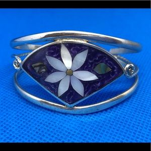 Alpaca Mexico Bracelet Purple With White Flower